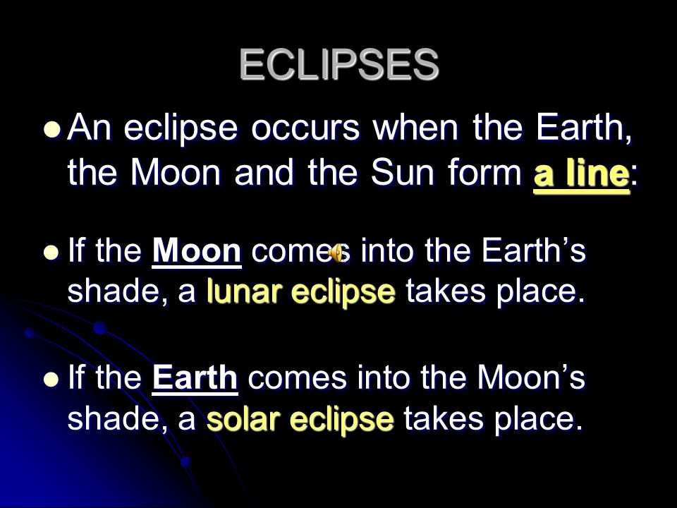 ECLIPSES An eclipse occurs when the Earth, the Moon and the Sun form a line: If the Moon comes into the Earth's shade, a lunar eclipse takes place.