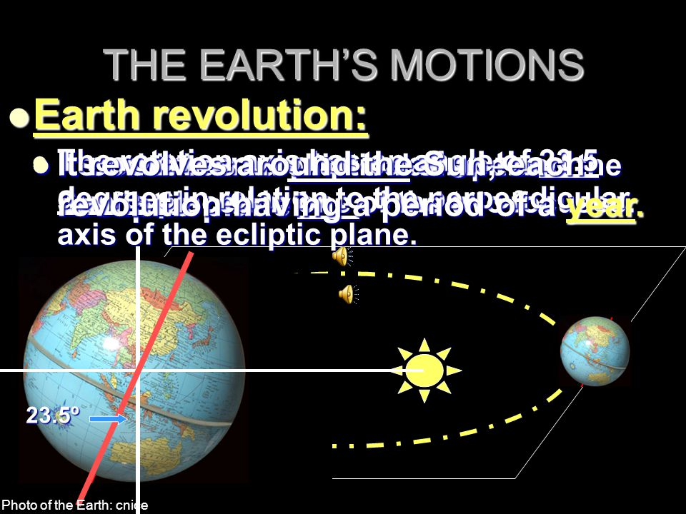 THE EARTH'S MOTIONS Earth revolution: