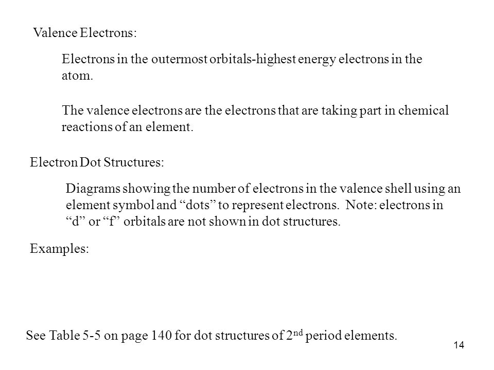 Valence Electrons: Electrons in the outermost orbitals-highest energy electrons in the atom.