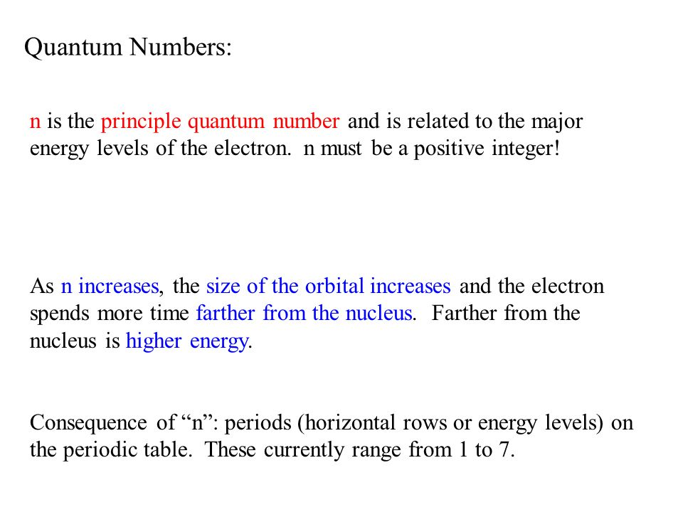 Quantum Numbers: n is the principle quantum number and is related to the major energy levels of the electron. n must be a positive integer!