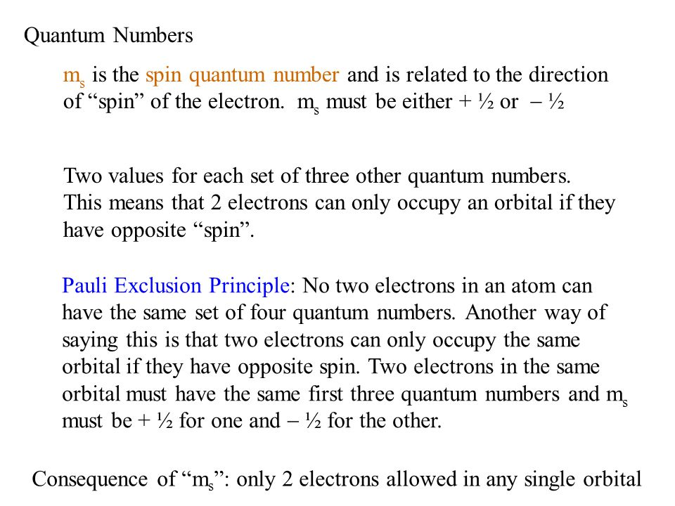 Quantum Numbers ms is the spin quantum number and is related to the direction of spin of the electron. ms must be either + ½ or - ½.