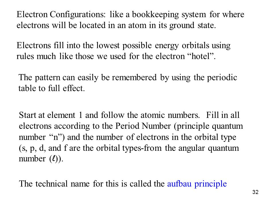 Electron Configurations: like a bookkeeping system for where electrons will be located in an atom in its ground state.
