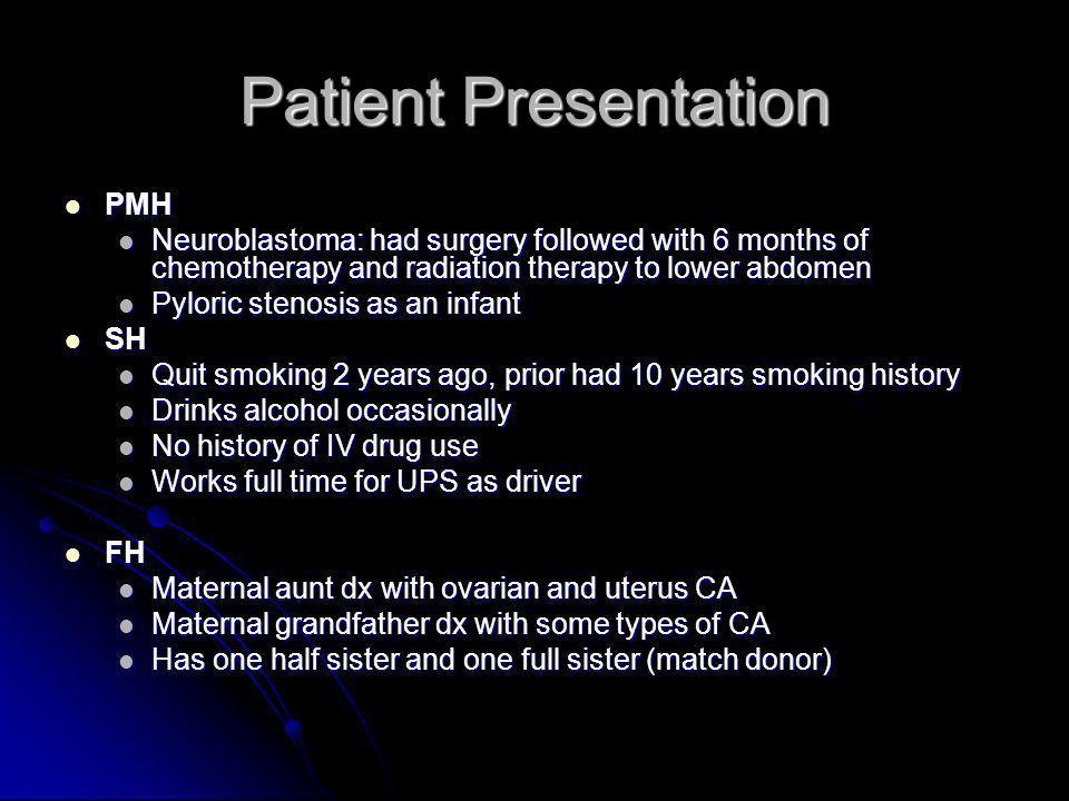 Patient Presentation PMH