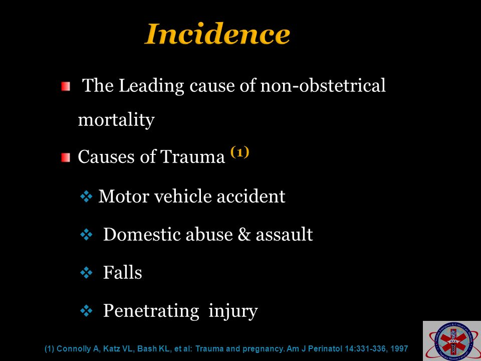 Incidence The Leading cause of non-obstetrical mortality