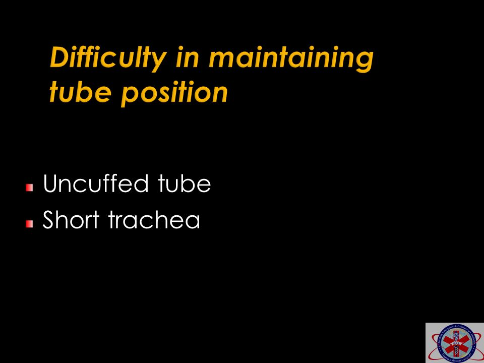 Difficulty in maintaining tube position