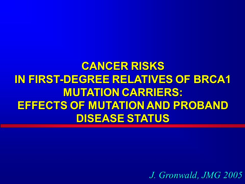 CANCER RISKS IN FIRST-DEGREE RELATIVES OF BRCA1 MUTATION CARRIERS: