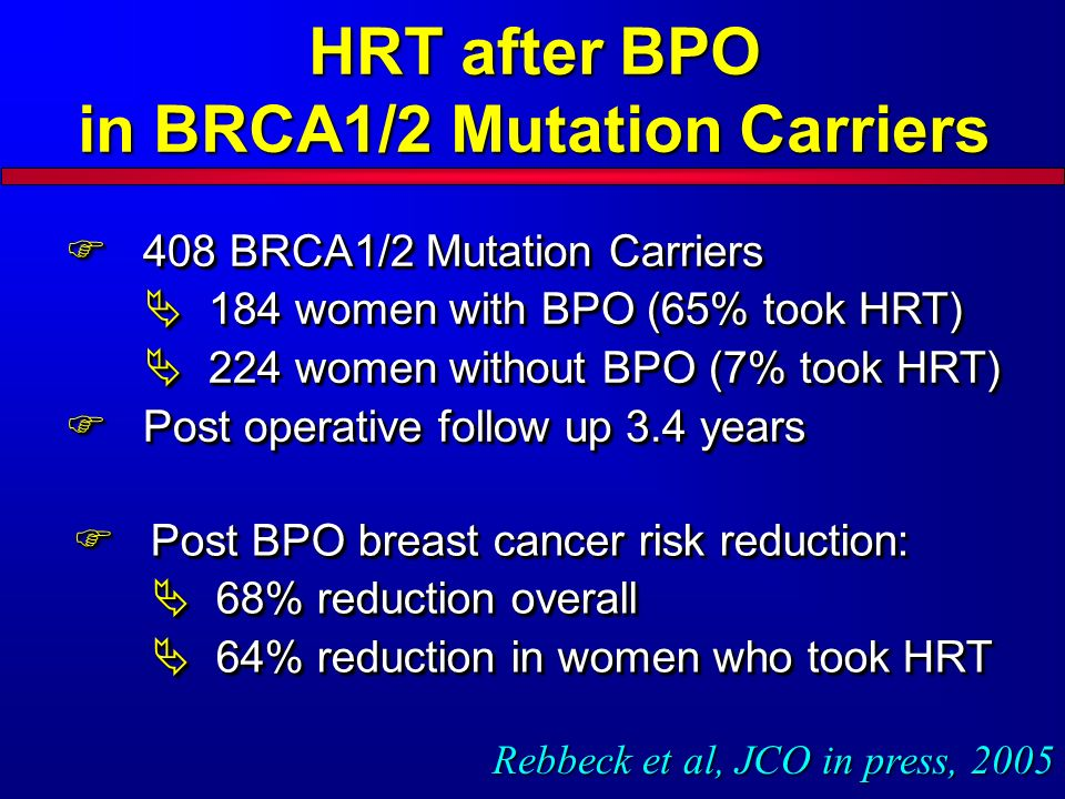 HRT after BPO in BRCA1/2 Mutation Carriers