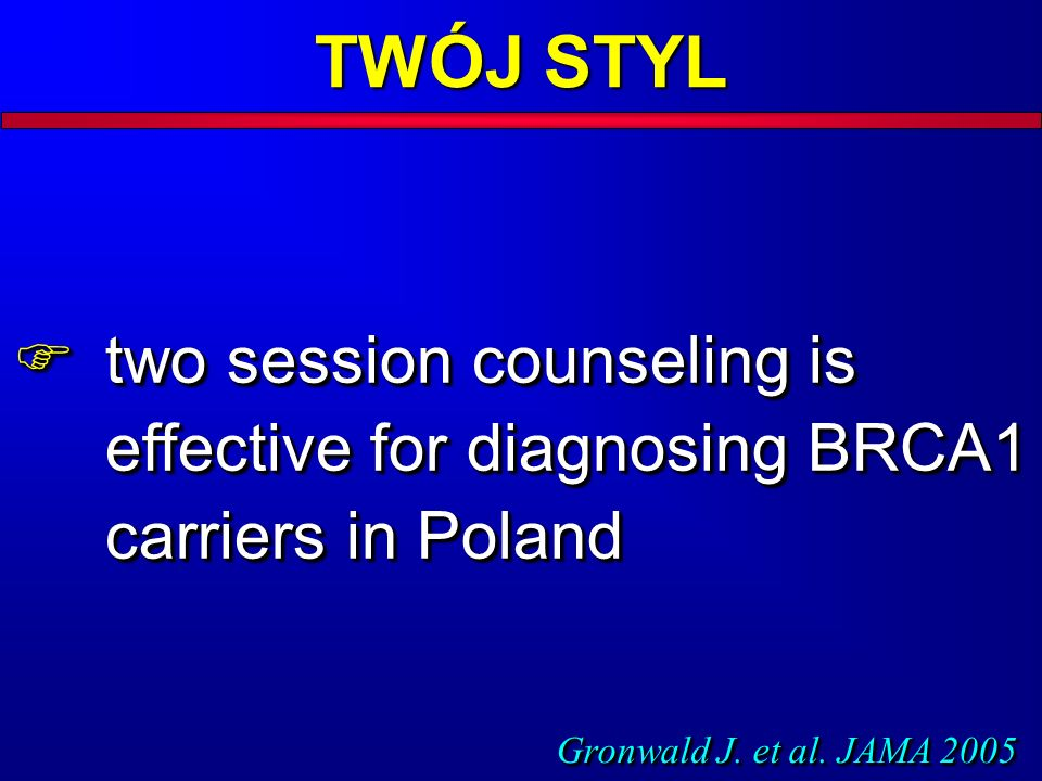 two session counseling is effective for diagnosing BRCA1 carriers in Poland