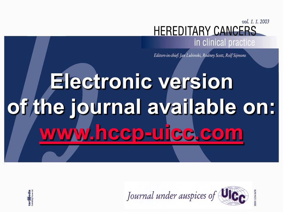 Electronic version of the journal available on: www.hccp-uicc.com