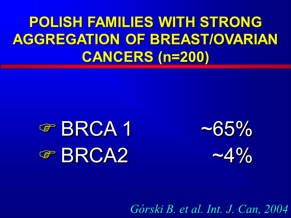 POLISH FAMILIES WITH STRONG AGGREGATION OF BREAST/OVARIAN CANCERS (n=200)