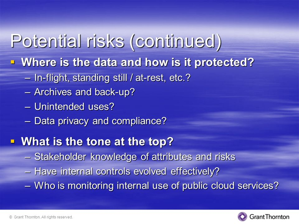 Potential risks (continued)