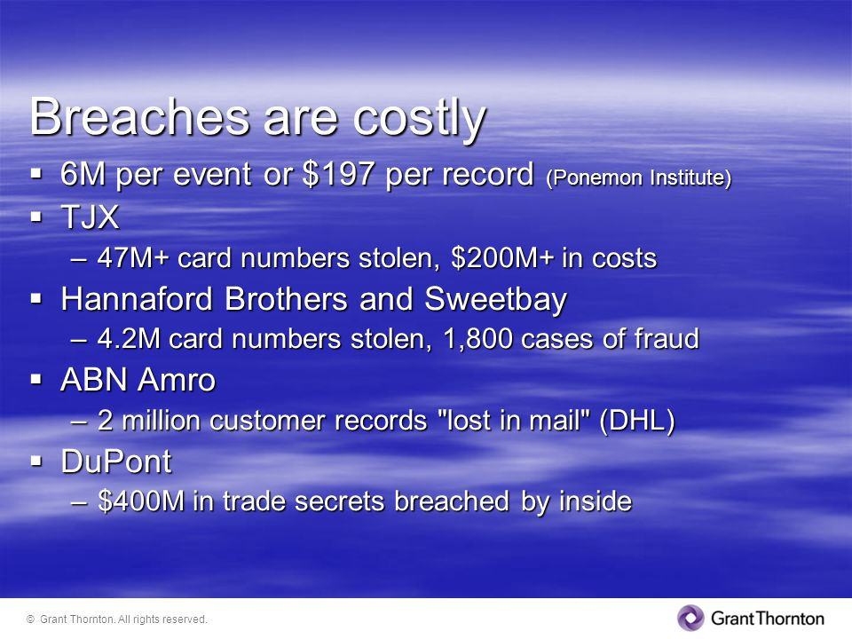 Breaches are costly 6M per event or $197 per record (Ponemon Institute) TJX. 47M+ card numbers stolen, $200M+ in costs.