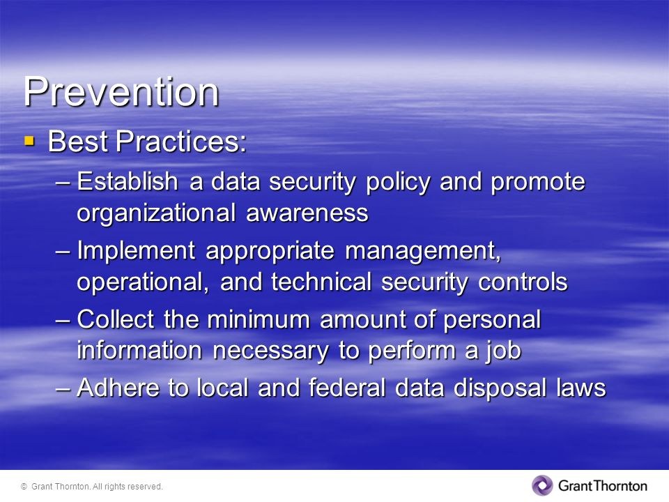 Prevention Best Practices: