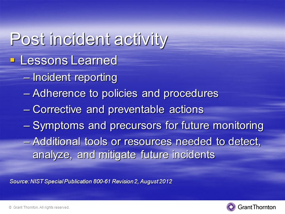 Post incident activity