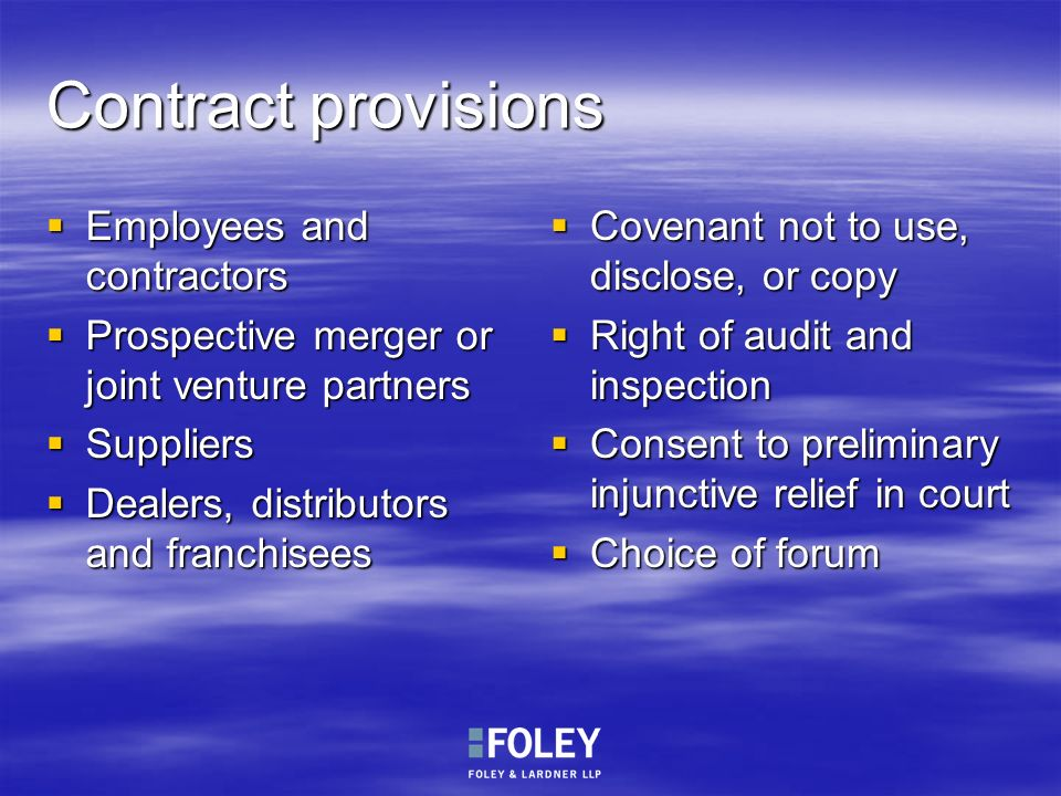 Contract provisions Employees and contractors