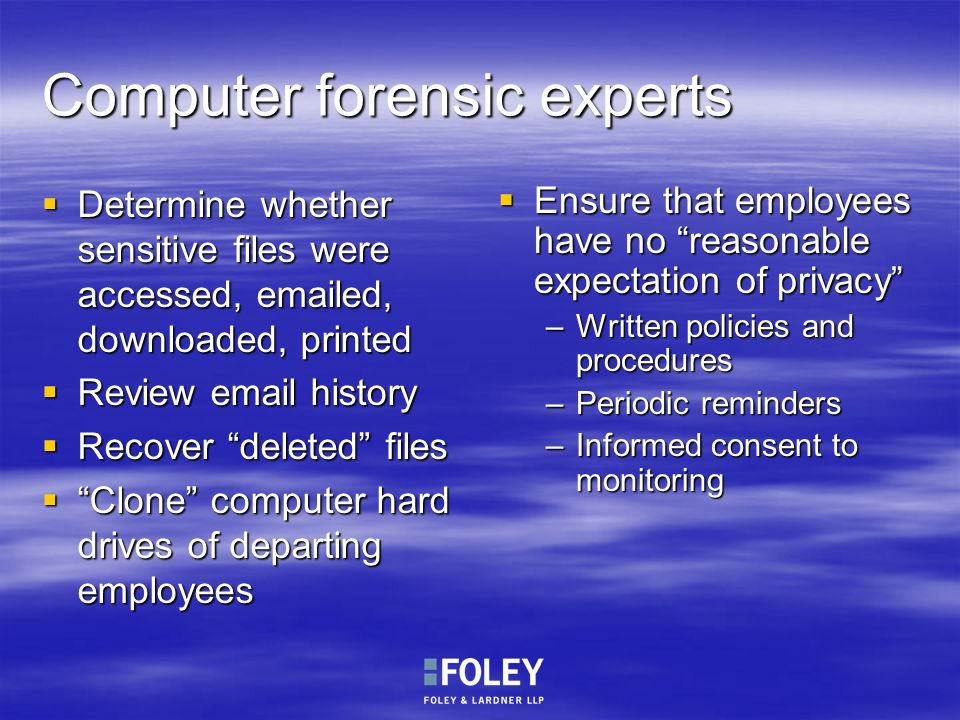 Computer forensic experts
