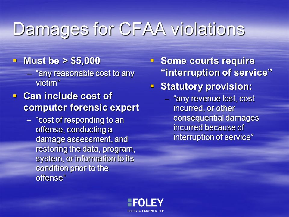 Damages for CFAA violations