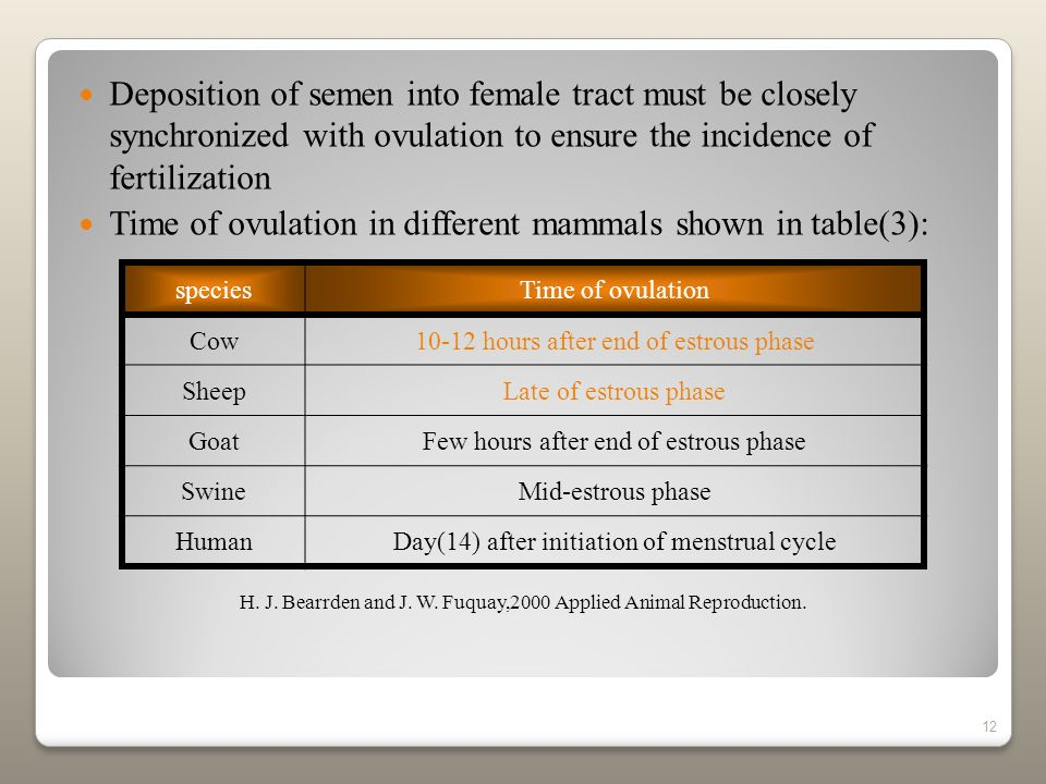 Time of ovulation in different mammals shown in table(3):