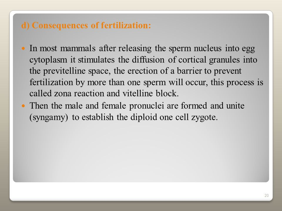 d) Consequences of fertilization: