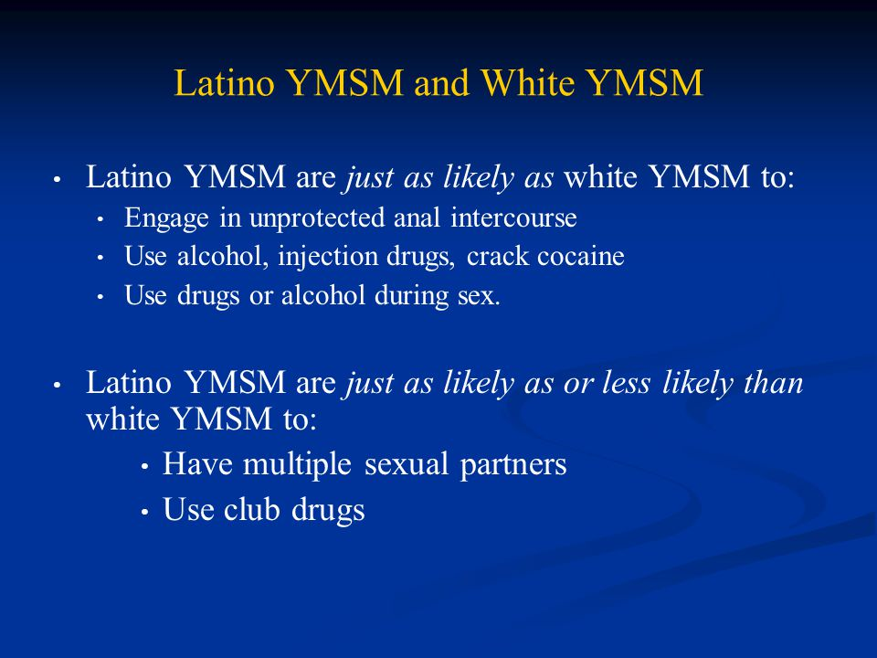 Latino YMSM and White YMSM