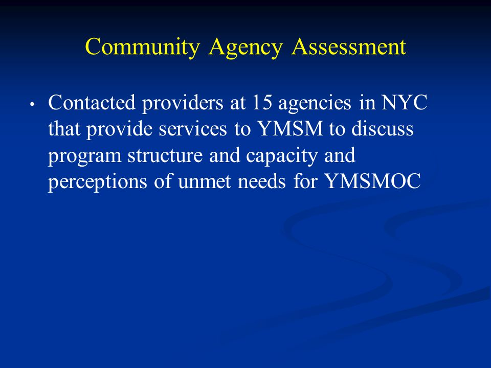Community Agency Assessment