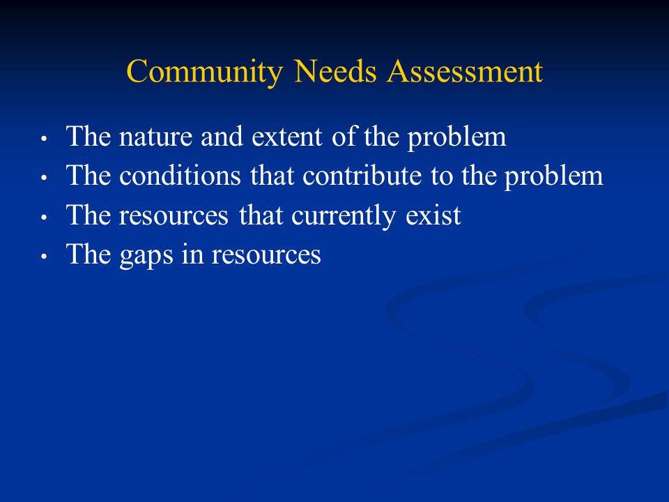 Community Needs Assessment