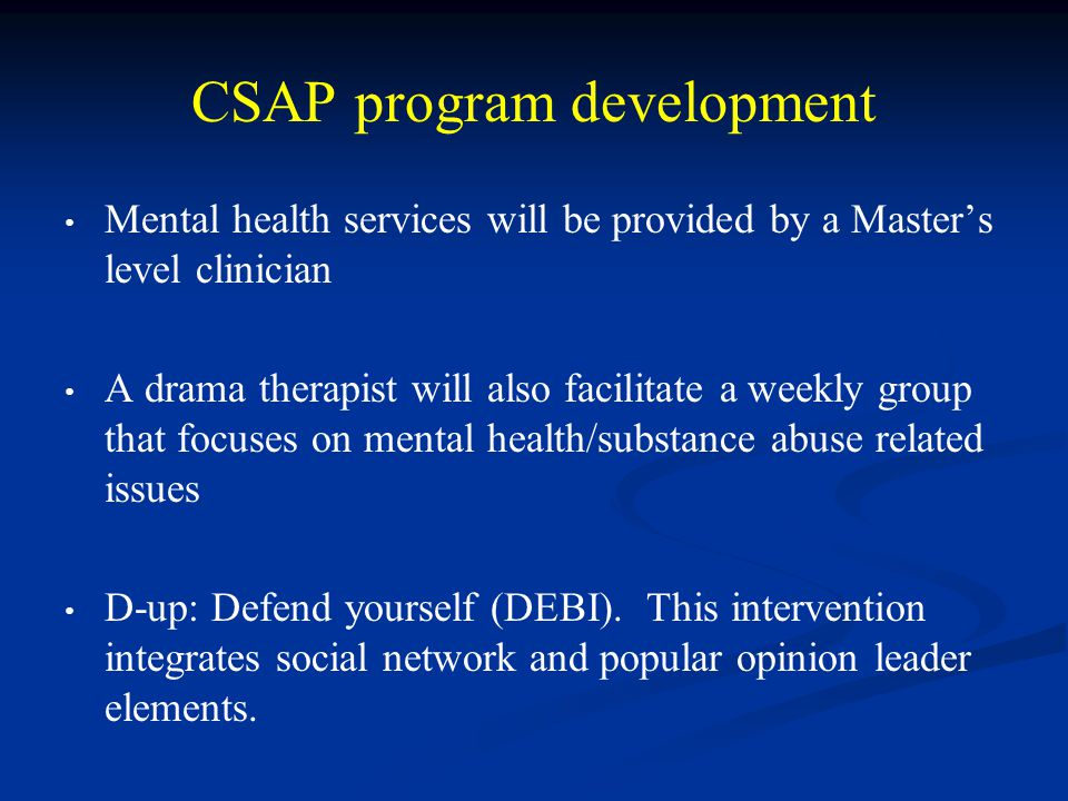 CSAP program development