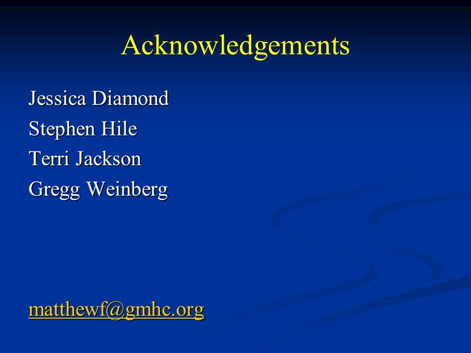 Acknowledgements Jessica Diamond Stephen Hile Terri Jackson Gregg Weinberg matthewf@gmhc.org
