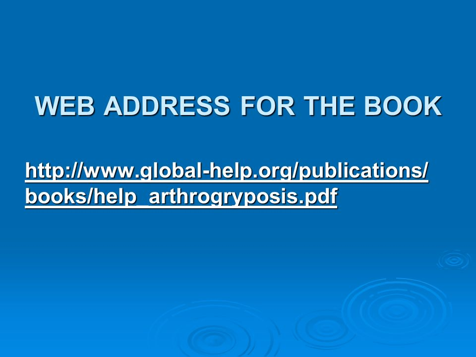 WEB ADDRESS FOR THE BOOK