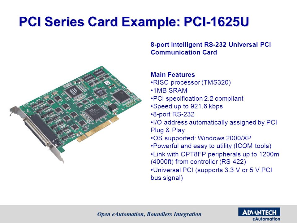 PCI Series Card Example: PCI-1625U