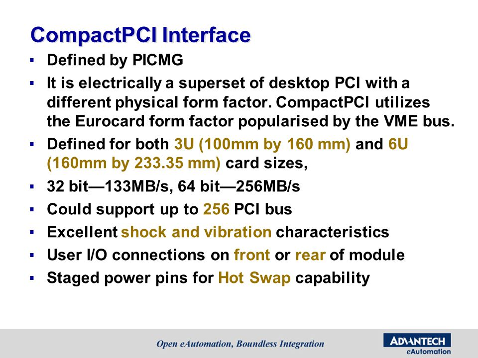 CompactPCI Interface Defined by PICMG