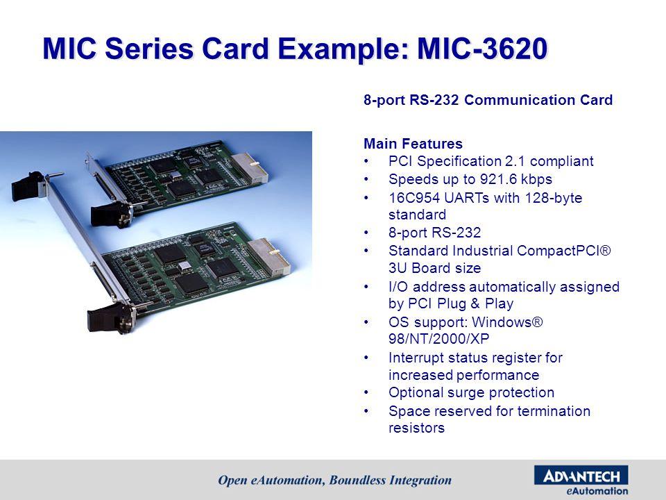 MIC Series Card Example: MIC-3620