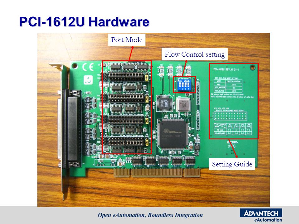 PCI-1612U Hardware Port Mode Flow Control setting Setting Guide