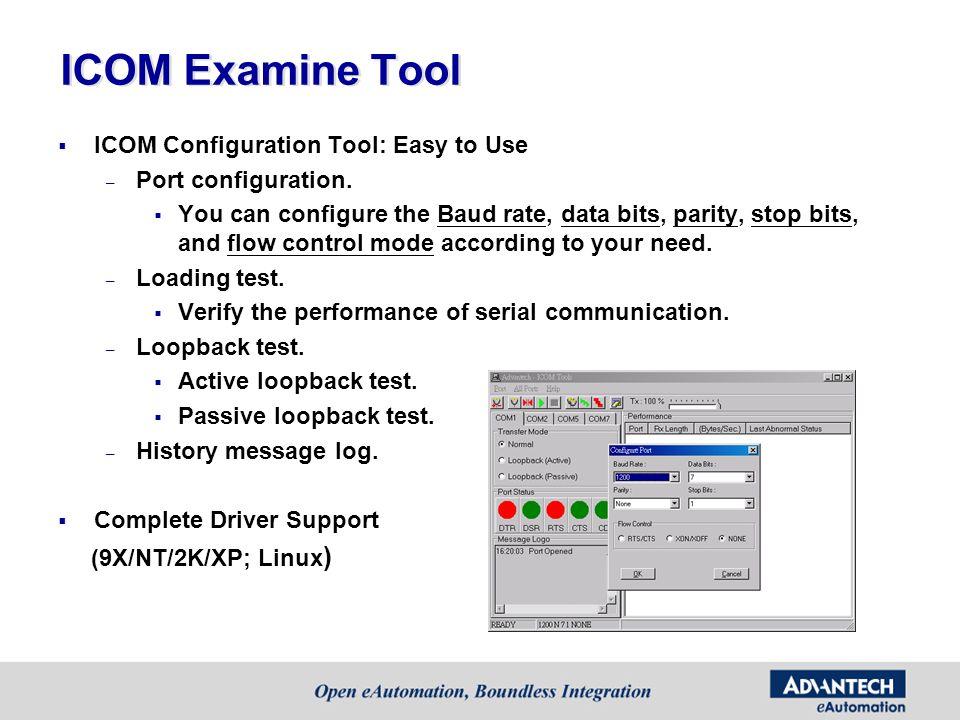 ICOM Examine Tool ICOM Configuration Tool: Easy to Use