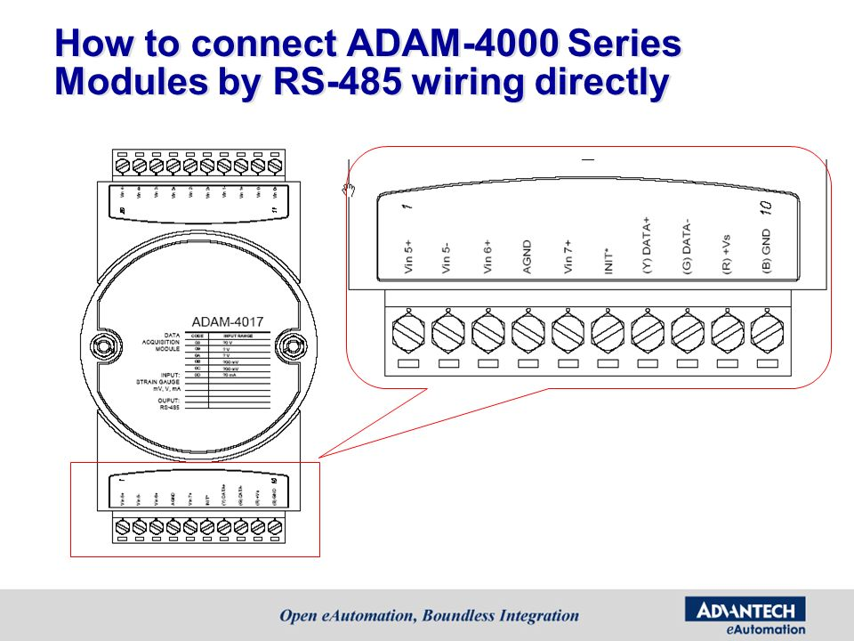 How to connect ADAM-4000 Series Modules by RS-485 wiring directly
