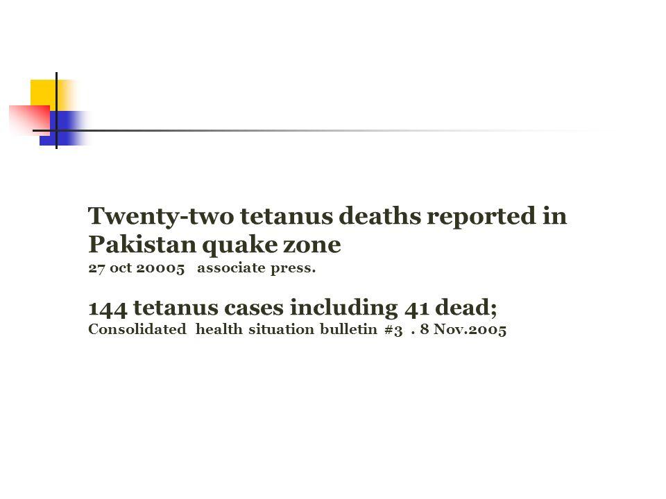 Twenty-two tetanus deaths reported in Pakistan quake zone