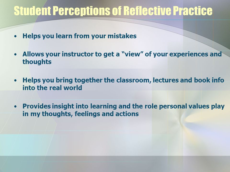 Student Perceptions of Reflective Practice