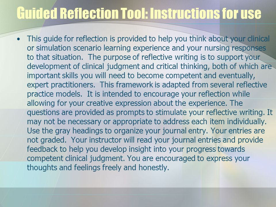 Guided Reflection Tool: Instructions for use