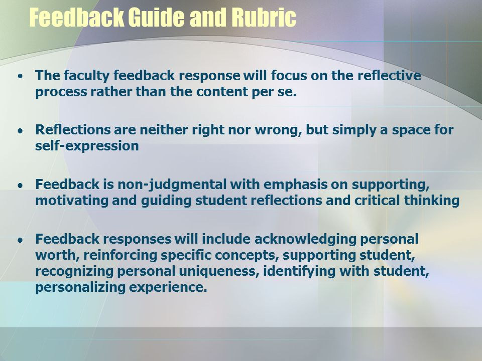Feedback Guide and Rubric