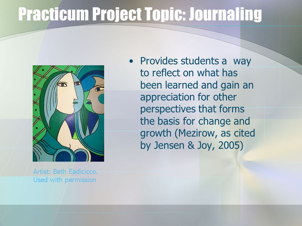 Practicum Project Topic: Journaling