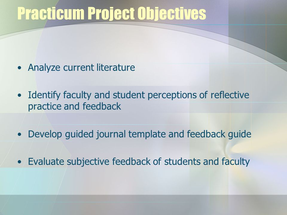 Practicum Project Objectives