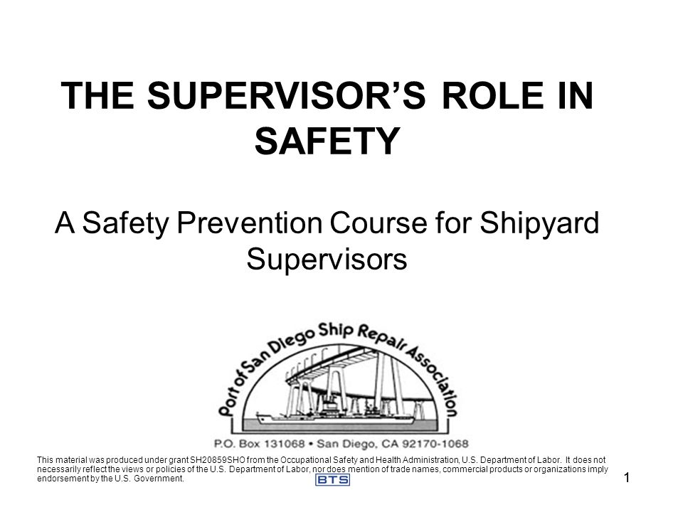 THE SUPERVISOR'S ROLE IN SAFETY