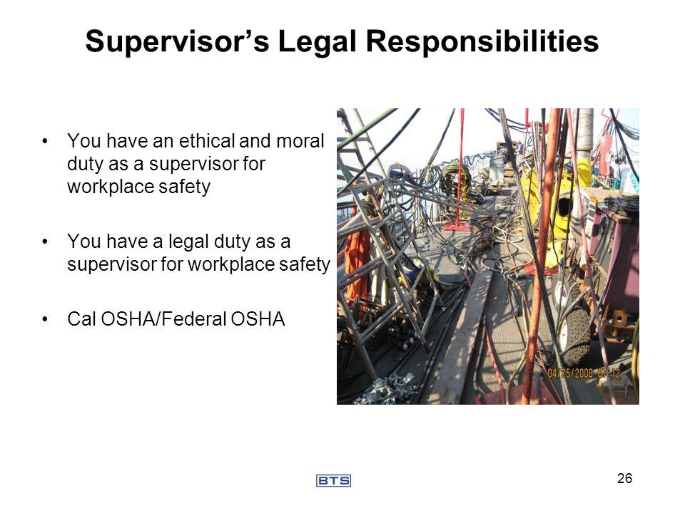 Supervisor's Legal Responsibilities