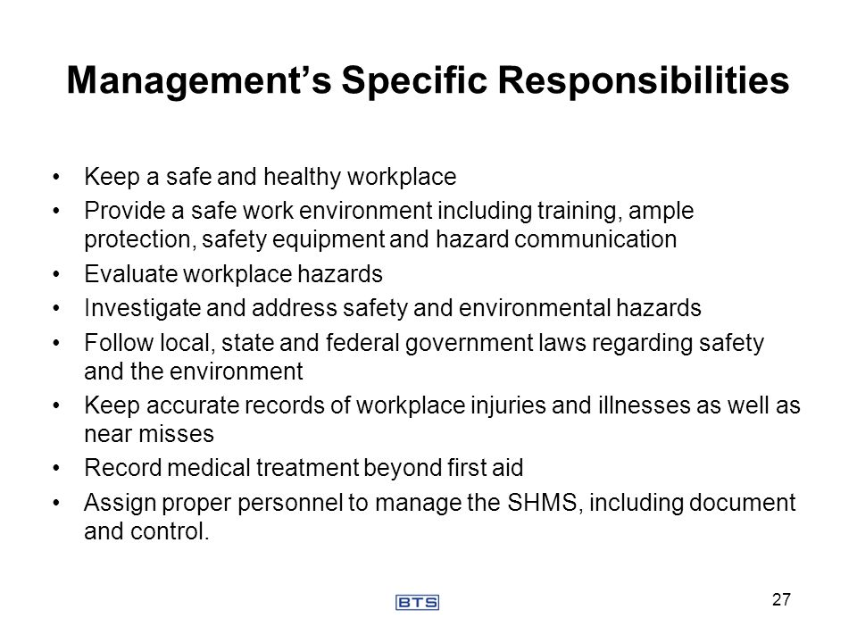 Management's Specific Responsibilities