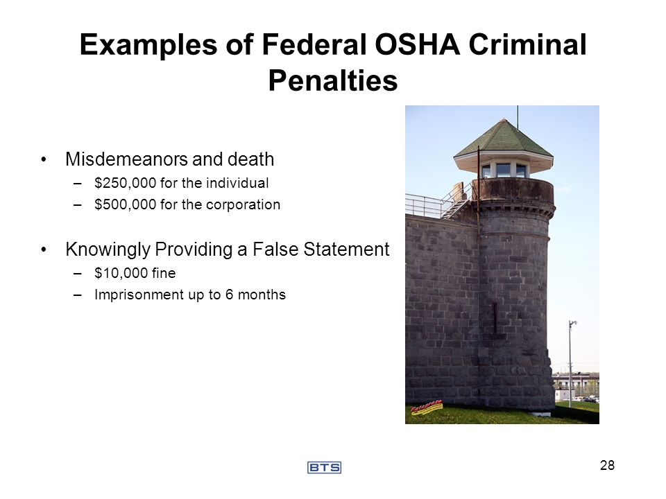 Examples of Federal OSHA Criminal Penalties