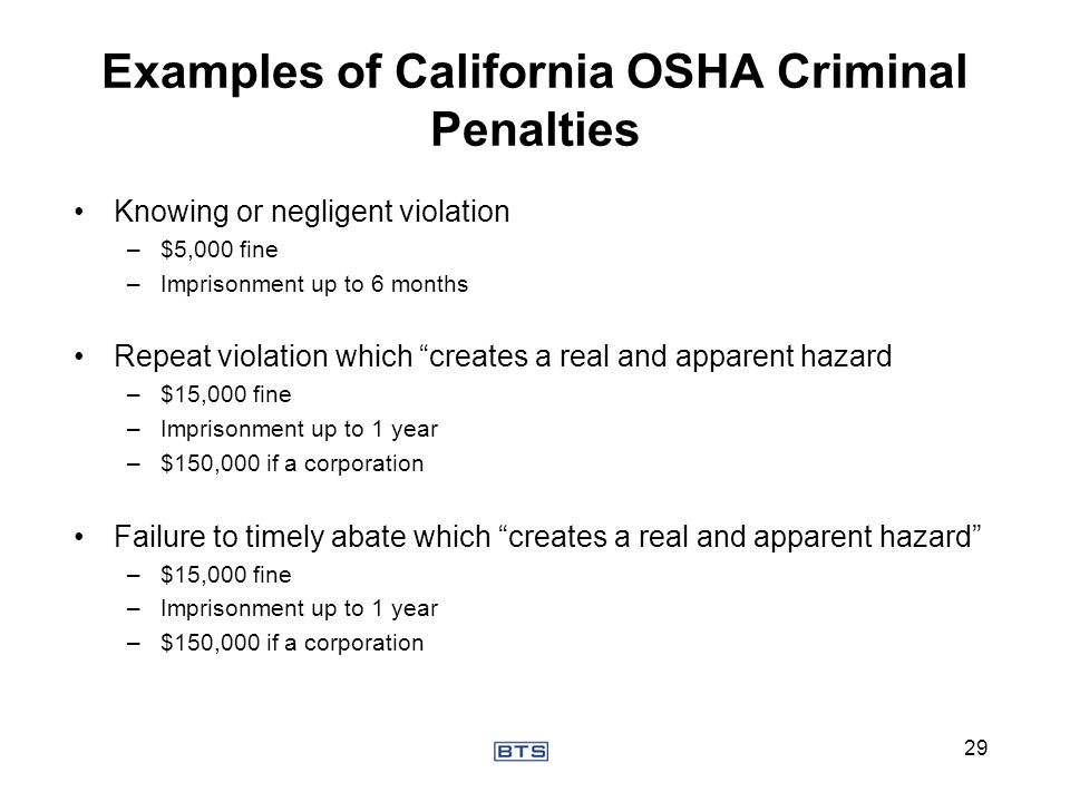 Examples of California OSHA Criminal Penalties