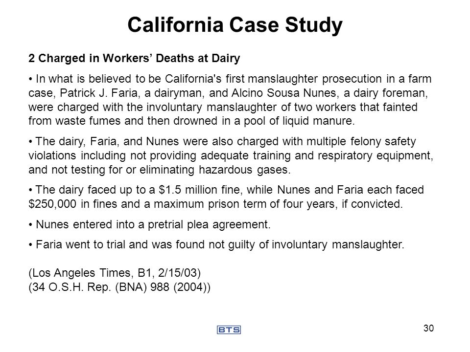 California Case Study 2 Charged in Workers' Deaths at Dairy