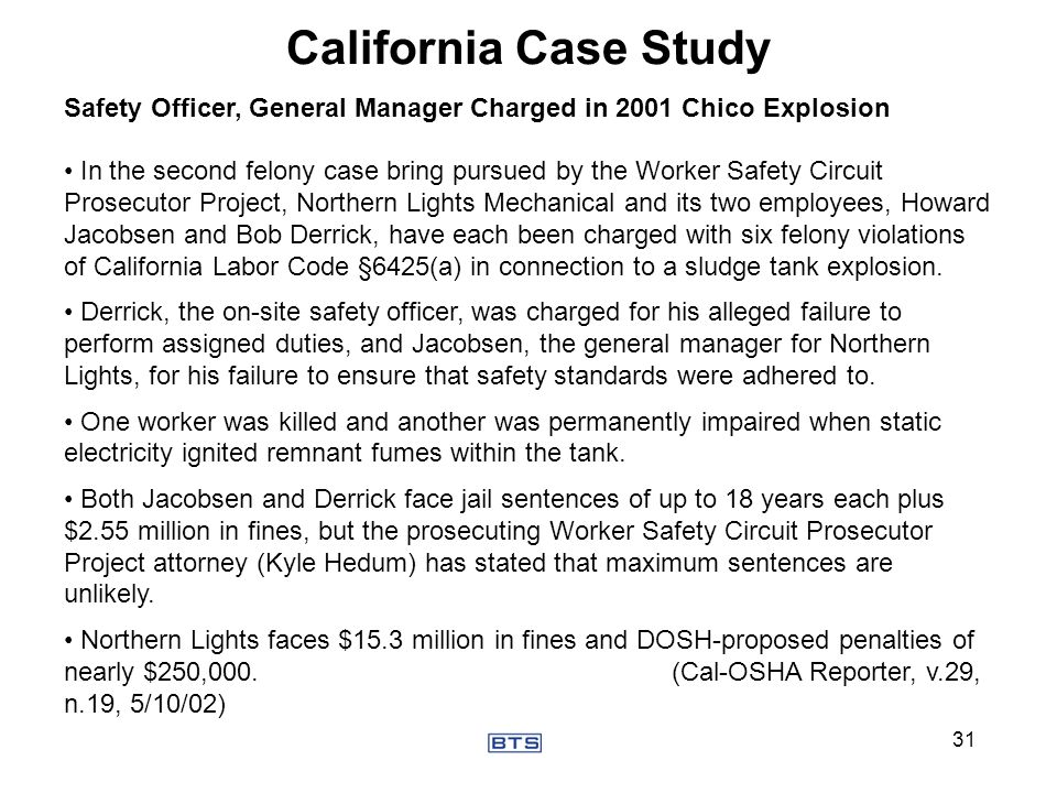 California Case Study Safety Officer, General Manager Charged in 2001 Chico Explosion.