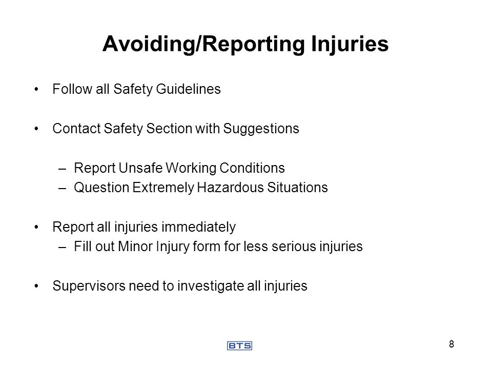 Avoiding/Reporting Injuries