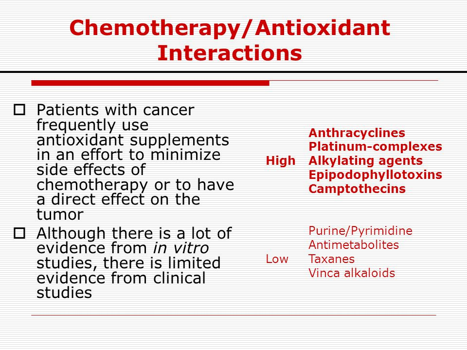 Chemotherapy/Antioxidant Interactions